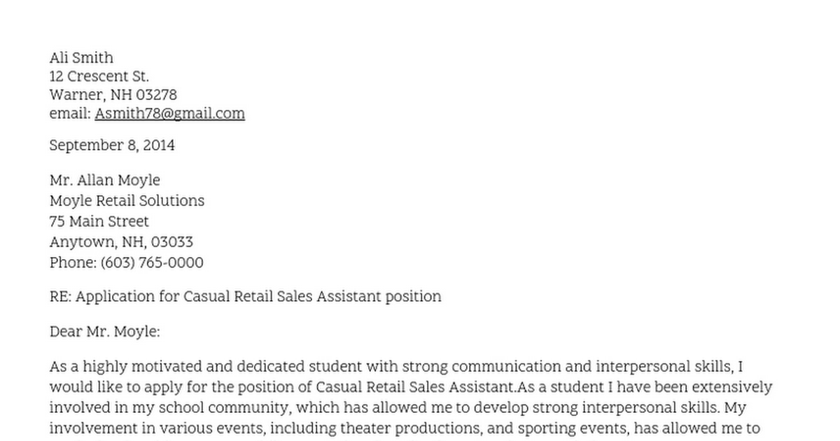 Example Cover Letter For Job Application