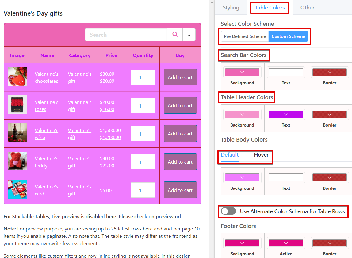 Ninja tables color customization for WooCommerce table