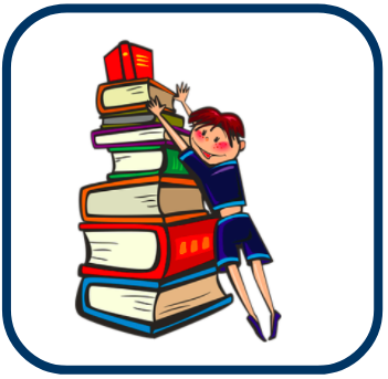 cartoon image of woman and stack of books