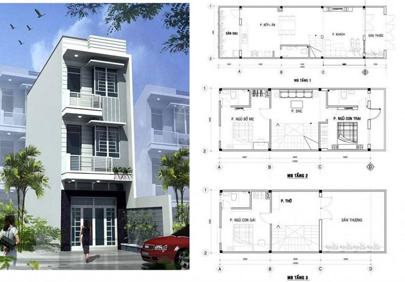 Nhà trọn gói gồm thiết kế + xây dựng và thường tính theo m2