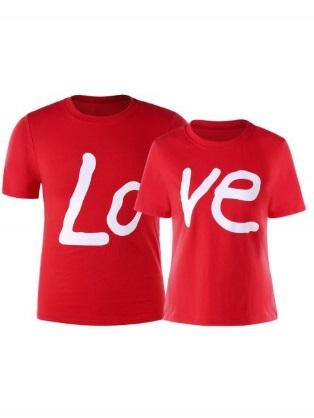 Love Print Matching Couples T-shirt - RED WOMEN 2XL