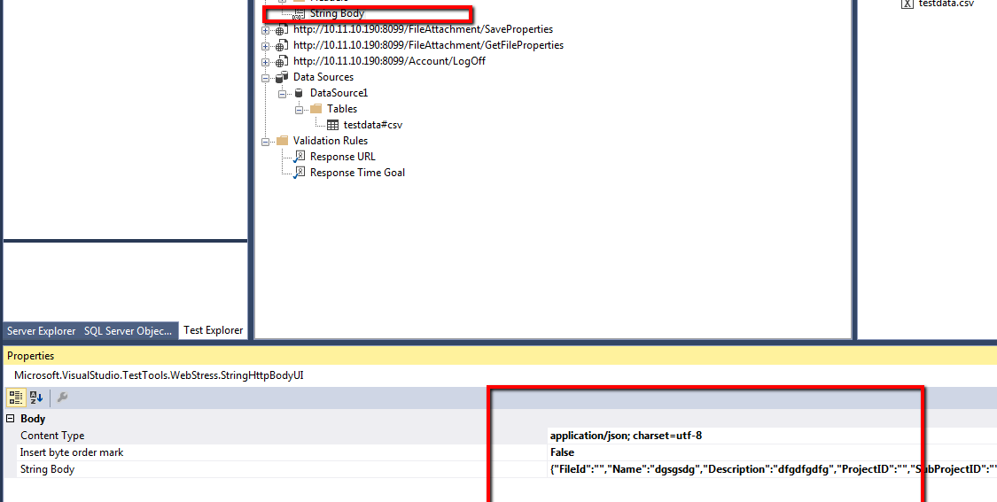 Parameterizing JASON request in Web Application VS 2013