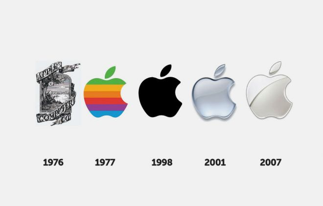 apple logos changes during the time