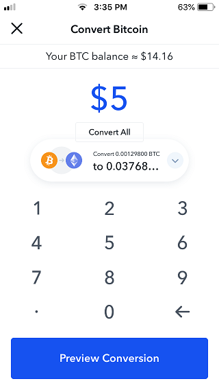 Coinbase convert BTC screen amount.