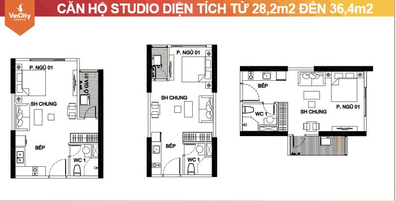 Ba mẫu mặt bằng thiết kế căn hộ studio Vinhomes Sportia