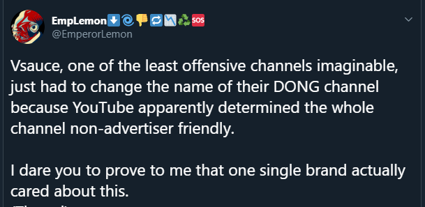 EmpLemon, popular YouTuber, criticizes YouTube's policies which resulted in Vsauce changing their channel name.