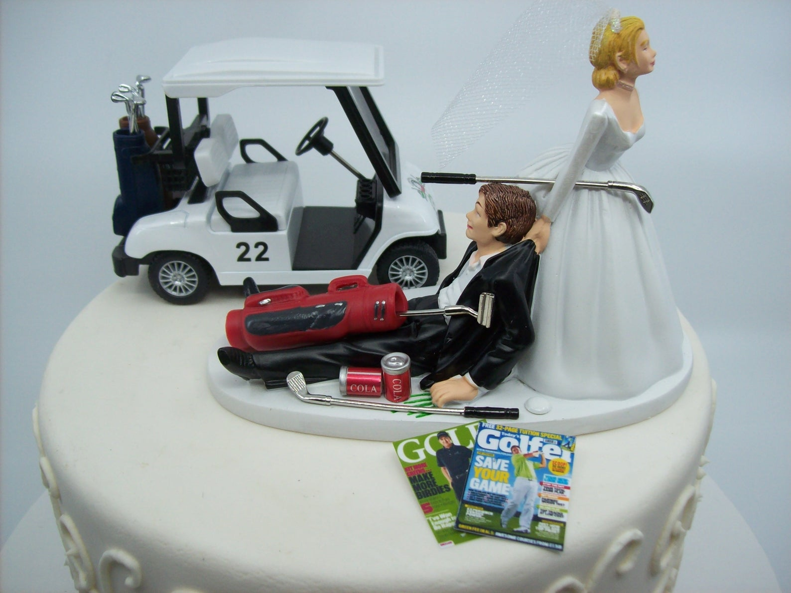 """""""no golfing"""" bride and groom topper"""