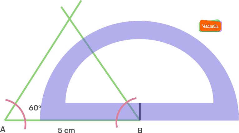 Taking B as centre, draw an angle of 60° using a protractor