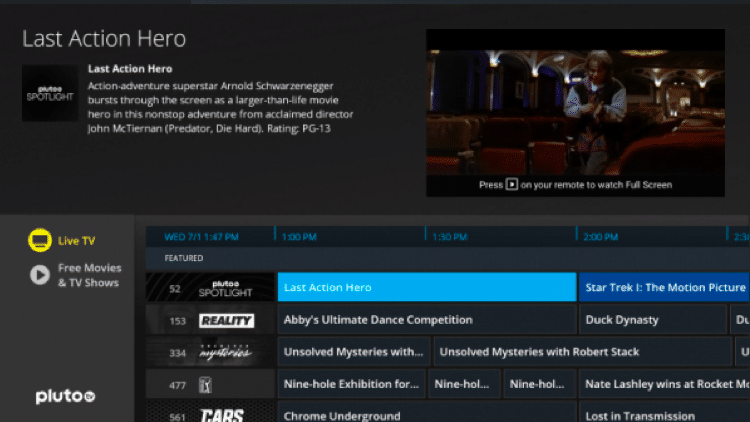 Pluto TV Dashboard - Best Free IPTV Apps for Live TV Streaming