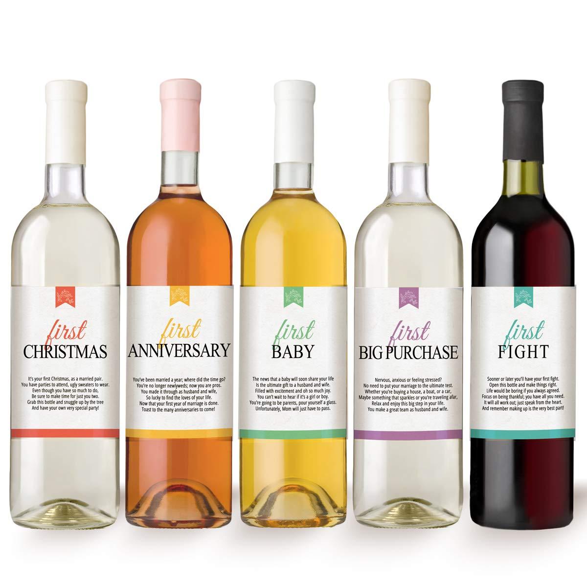 marriage milestones wine bottle labels