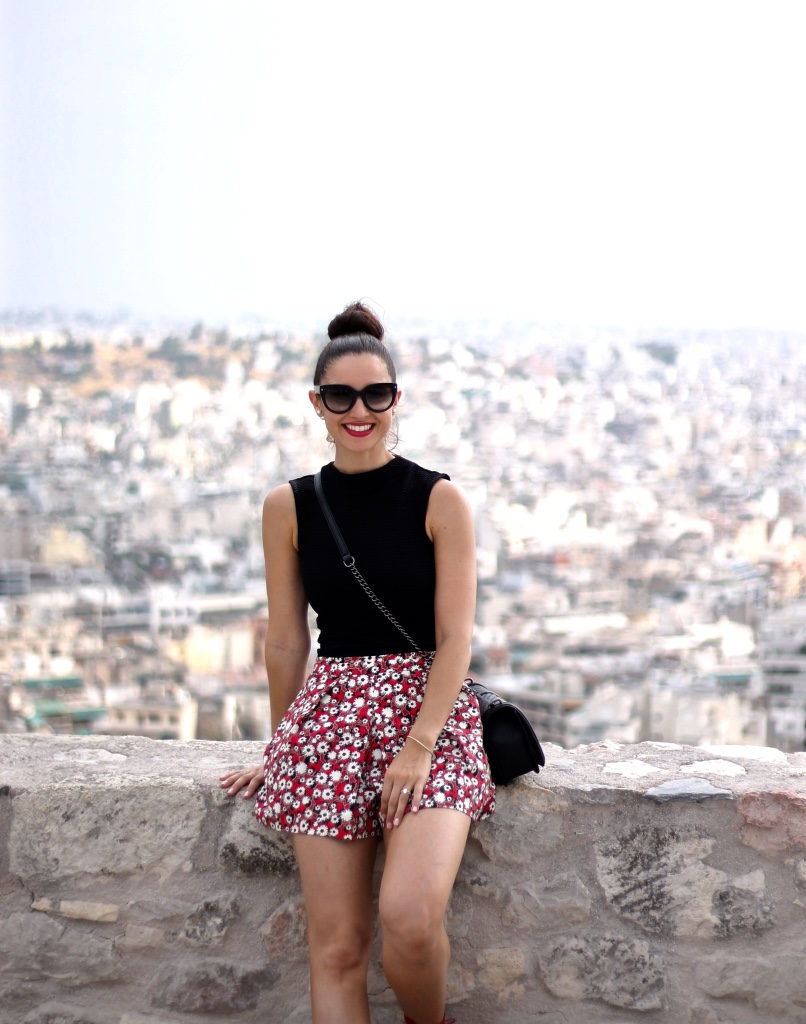 Black Woven Crop Top; Zara Red Floral Skort; Black Chevron Quilted Love Rebeca Minkoff Crossbody; Athens City View