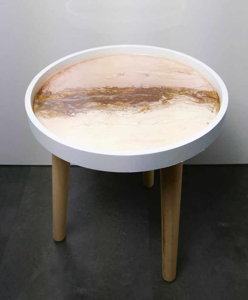 """""""marble"""" and gold effects in epoxy resin - sofa table"""