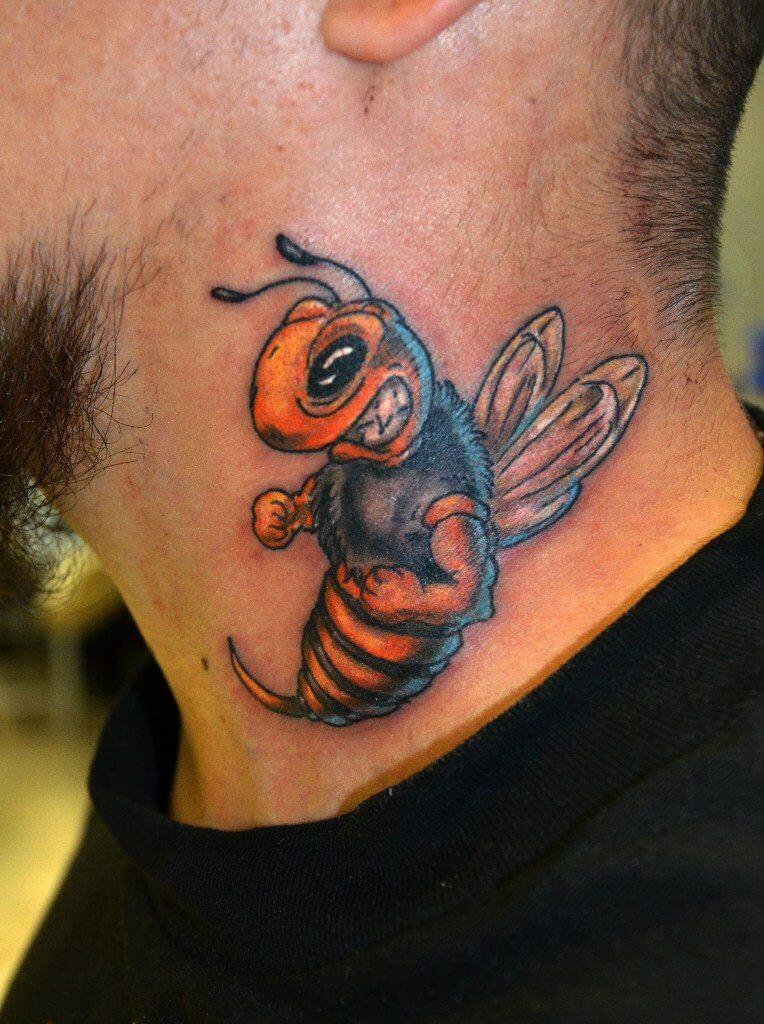 hornet bee tattoo on neck