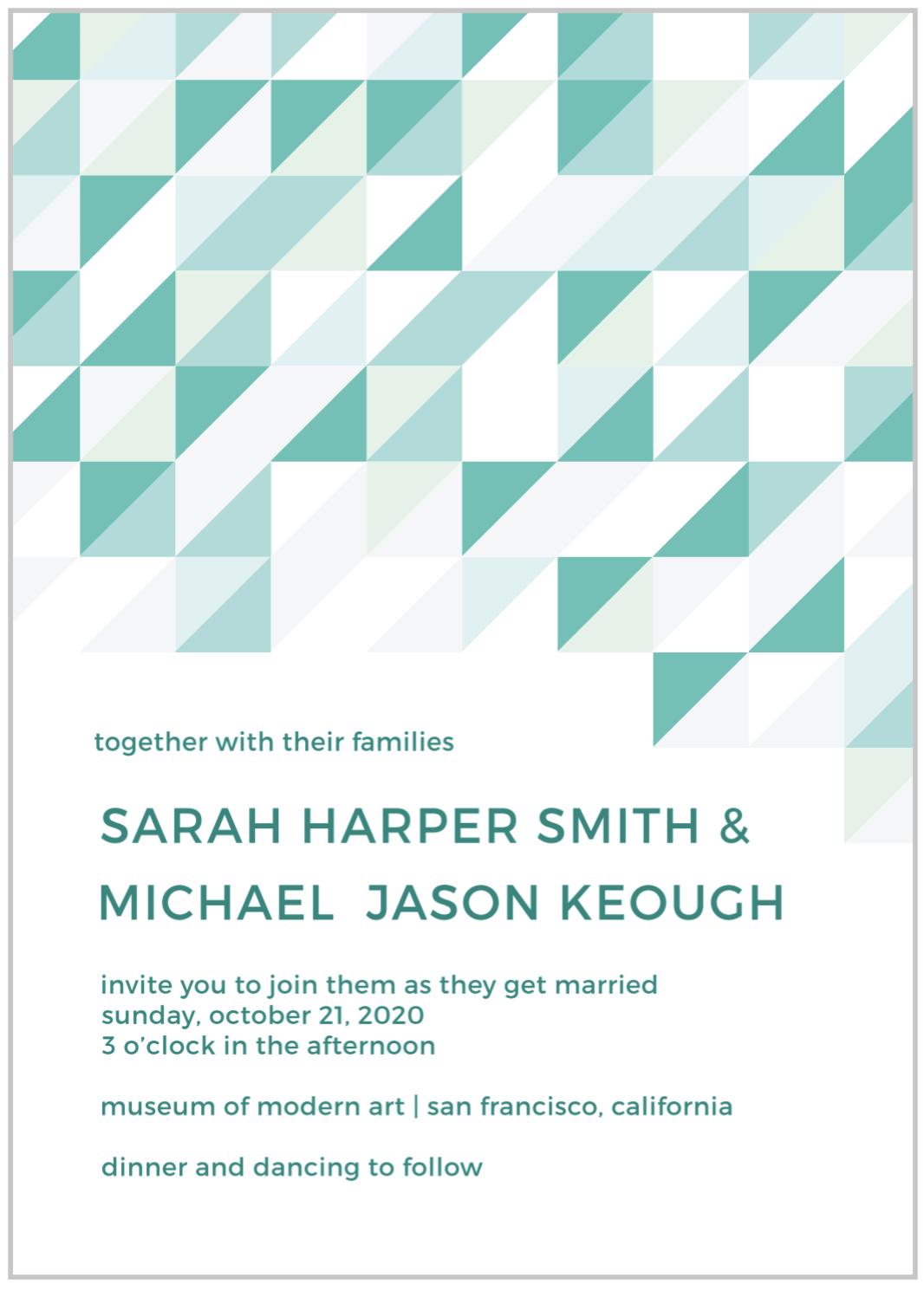 geometric modern wedding invitation