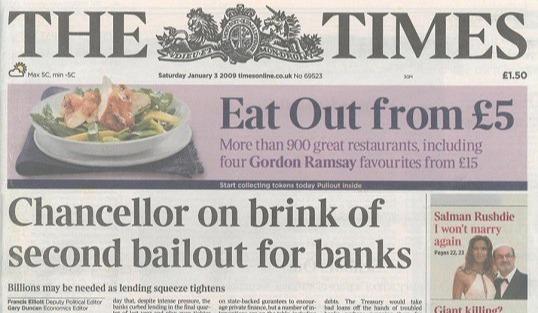 The Times | United Kingdom, headline of January 03,2009 | Blockchainblogging.com