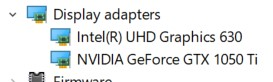 The Display Adapters in the Device Manager