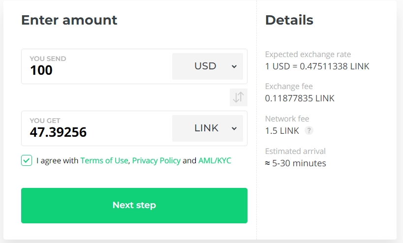 Buy  LINK at Changelly