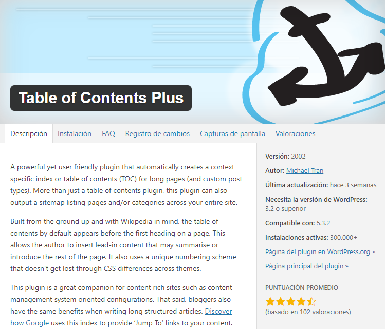 Plugin Table Of Content Plus