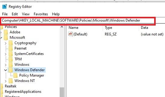 HKEY/LOCAL MACHINE/SOFTWARE/Policies/Microsoft/Windows Defender.