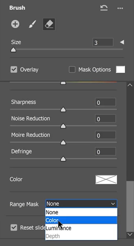 Scroll down to the bottom of the slider and set the Range Mask to Color.