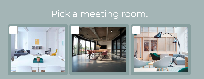 pick a meeting room with images of different meeting rooms