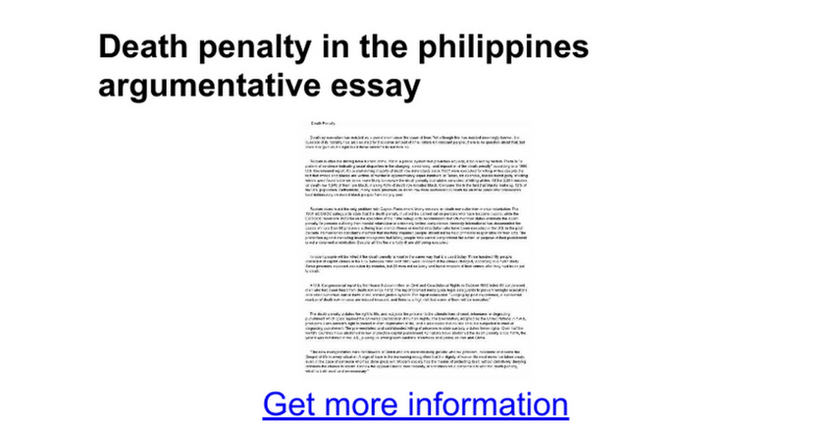 Death penalty in the philippines argumentative essay google docs