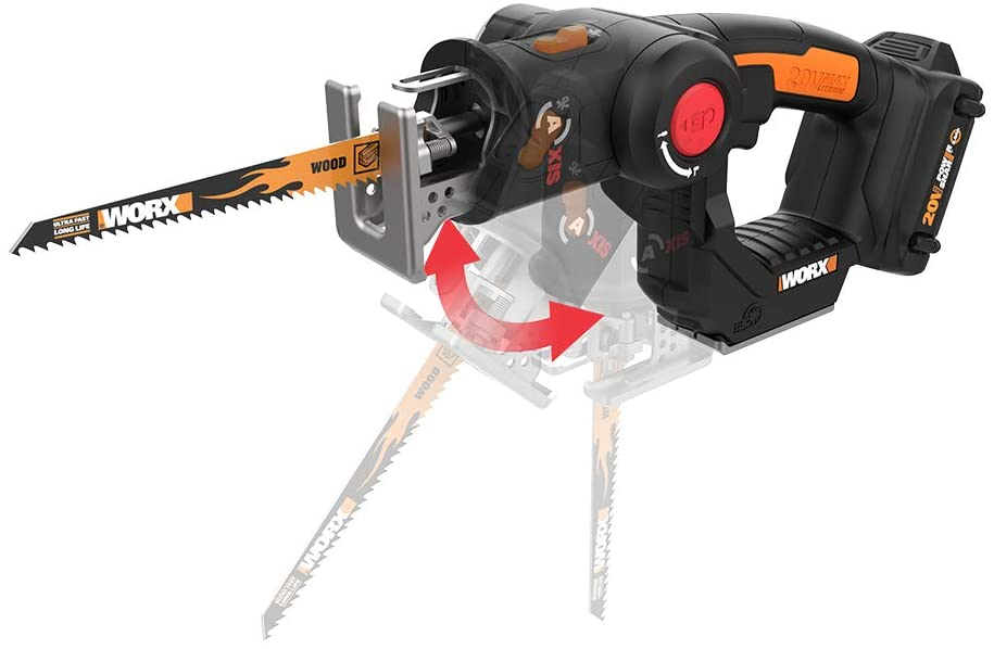WORX WX550L 20V AXIS 2-in-1 Reciprocating Saw and Jigsaw for a DIY massage gun