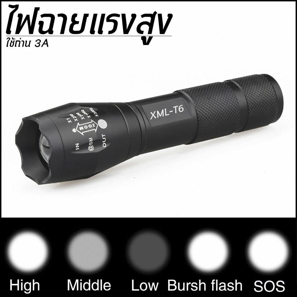 5. ไฟฉายแรงสูง CREE XML T6 LED Zoomable Flashlight Torch 5 Modes