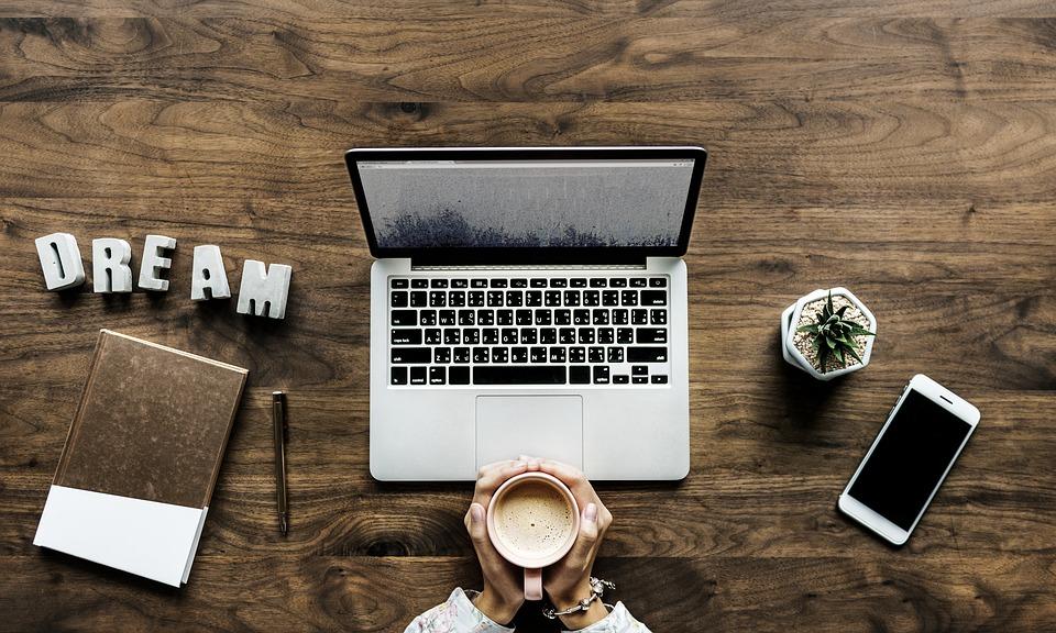 ドリンク, ブログ, ブロガー, 破る, ビジネス, コーヒー, コンピュータ, 起業家, Flatlay