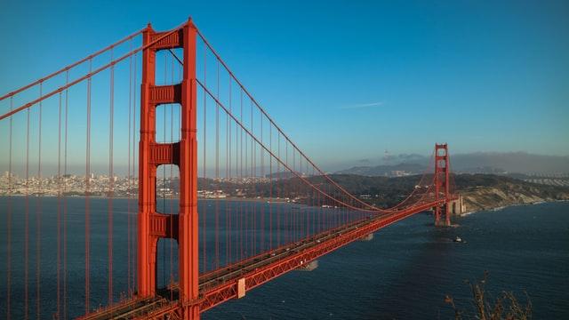 The San Francisco Golden Gate Bridge on a blue sky day