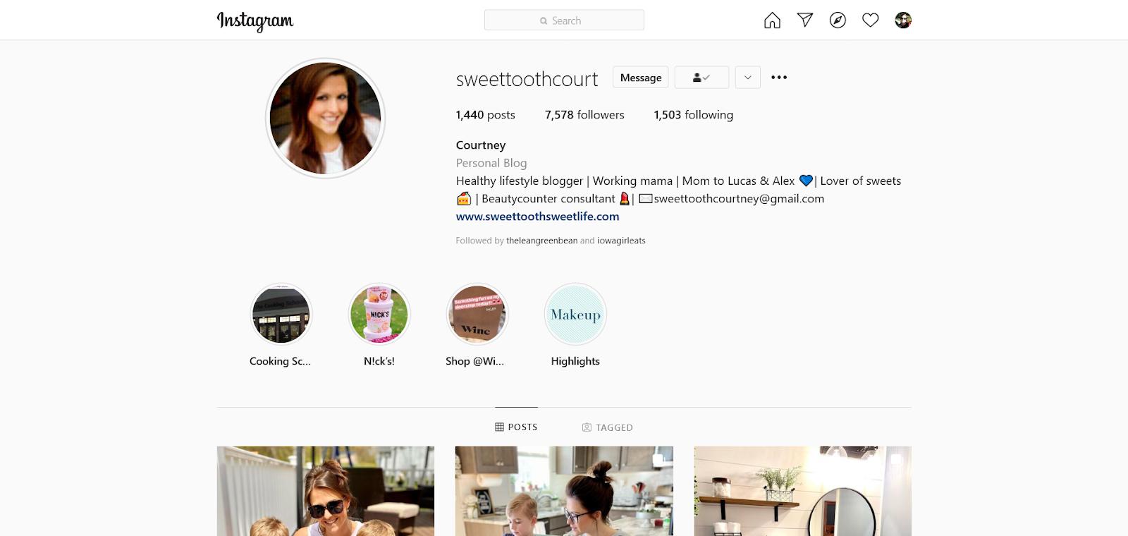 sweettoothcourt instagram bio account