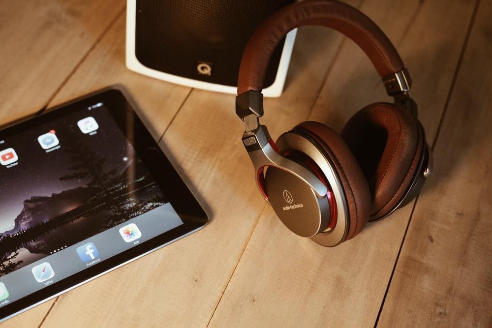 brown wireless headphones