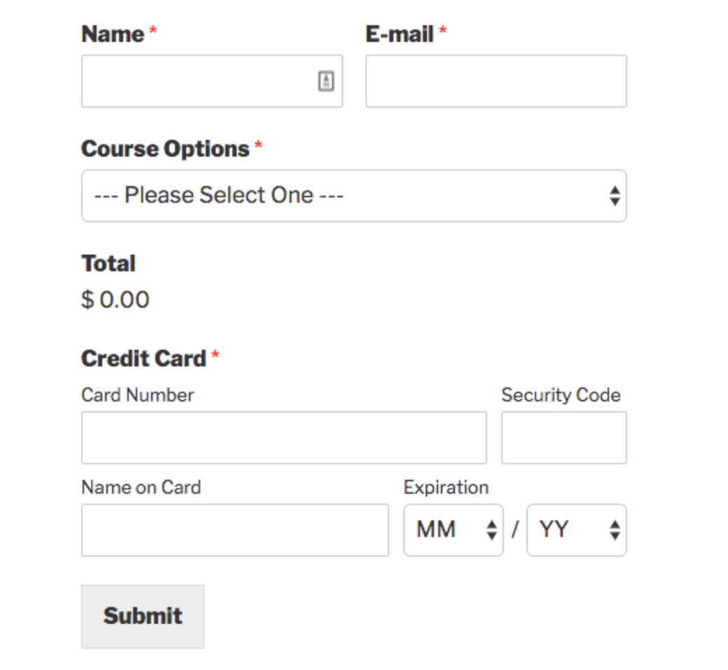 Create payment forms on WordPress