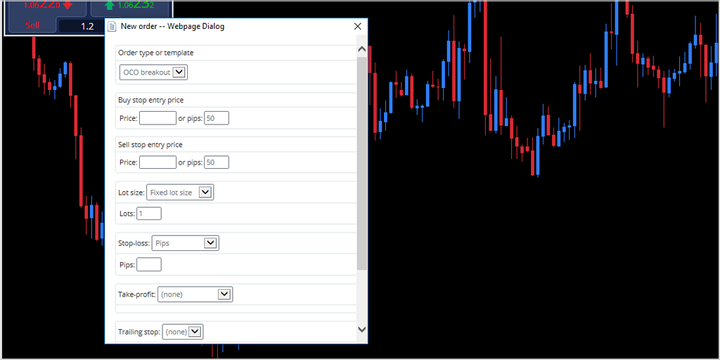 Order type as OCO breakout selection