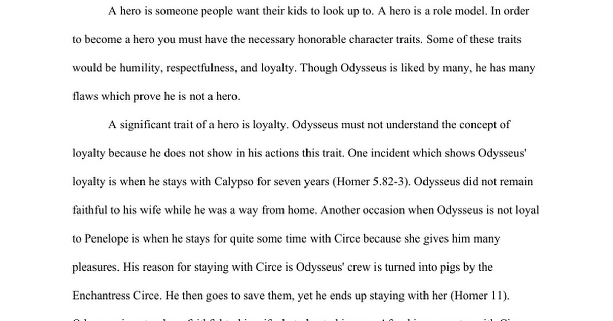 odyssey paper hero or not google docs