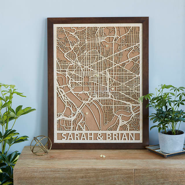 Laser-cut wood and cork city map
