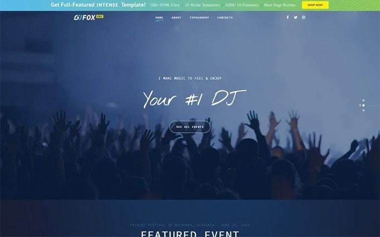 лучший бесплатный ботстрап тема шаблон веб-сайт DJ событие музыкальная певица группа