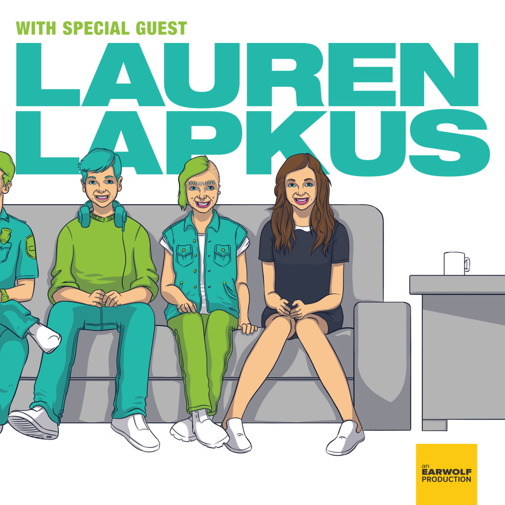 """""""With Special Guest Lauren Lapkus"""" animated logo of her and other sitting on a sofa"""