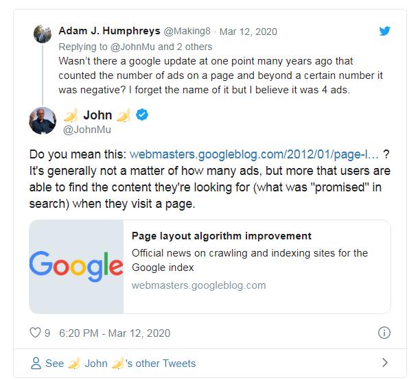 цитата джона мюллера из твиттера об алгоритме page layout