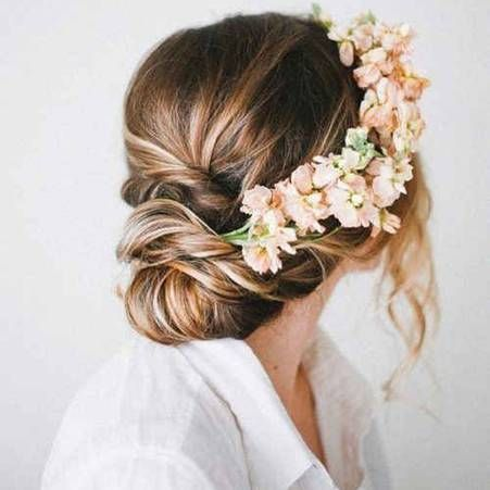 K'Mich Weddings - wedding planning - updo with flowers - floral crown