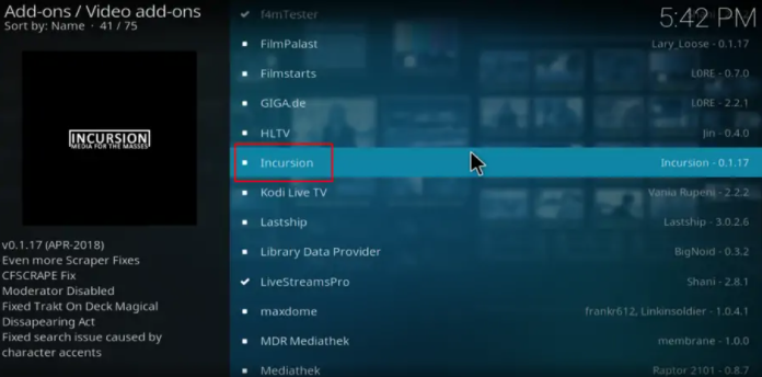 How to Install Incursion on Firestick Addon