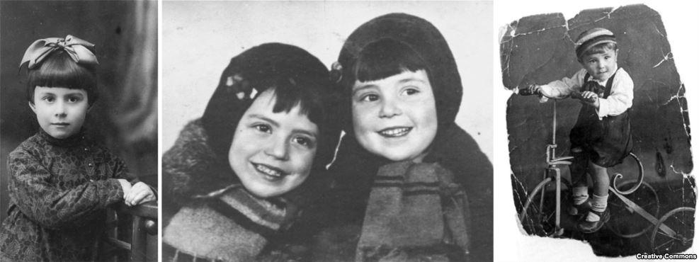 """Некоторые из детей, ставших жертвами убийства в Бабьем Яру. Слева направо: Анна Глинберг, Мальвина и Полина Бабат, Вельвеле-Валентин Пинкерт. Одна из тех, кто выжил, вспоминала спустя десятилетия, что в Бабьем Яру расстреливали и неевреев, которые шли проститься со своими еврейскими соседями перед """"депортацией"""" и подошли слишком близко к оврагу"""