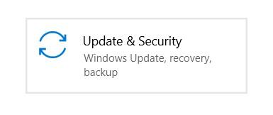 Update & Security tile in Windows Settings