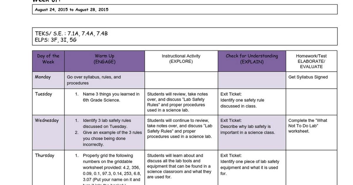 MacNabbBrown7th GradeScienceWeek 11st Six Weeks Google Docs – Lab Safety Rules Worksheet