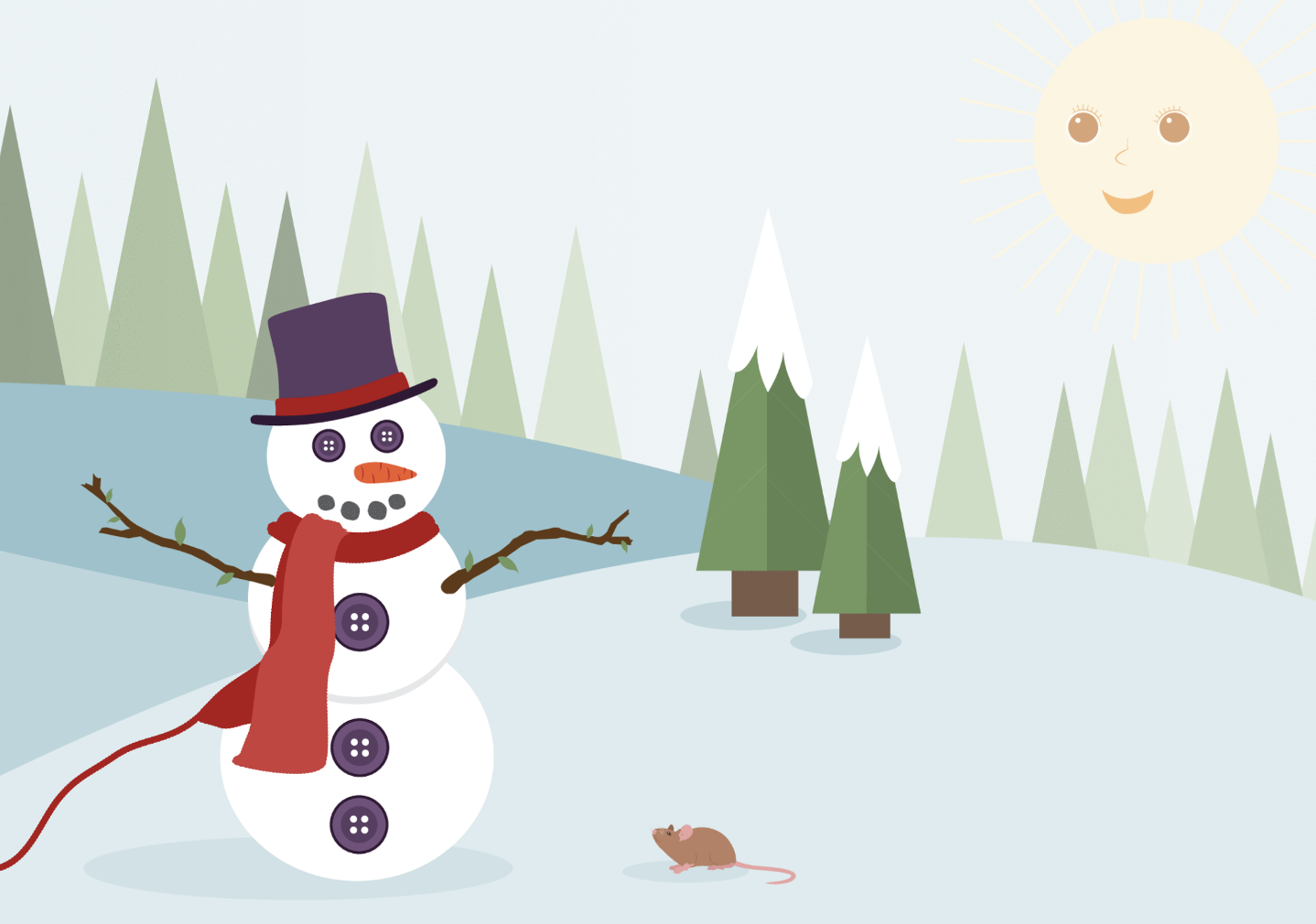 A snow person talks with Little Mouse. The snow person has 2 buttons for eyes. 3 more buttons suggest clothes. A carrot makes a nose. And 4 dots make a mouth. The snow person has 2 sticks for arms. It's wearing a top hat and a scarf with a long string of yarn coming off. 17 triangles make trees in the background. 2 more triangles with snow on top are closer. The sun is shining, too. It has 2 eyes, a nose, and a mouth.