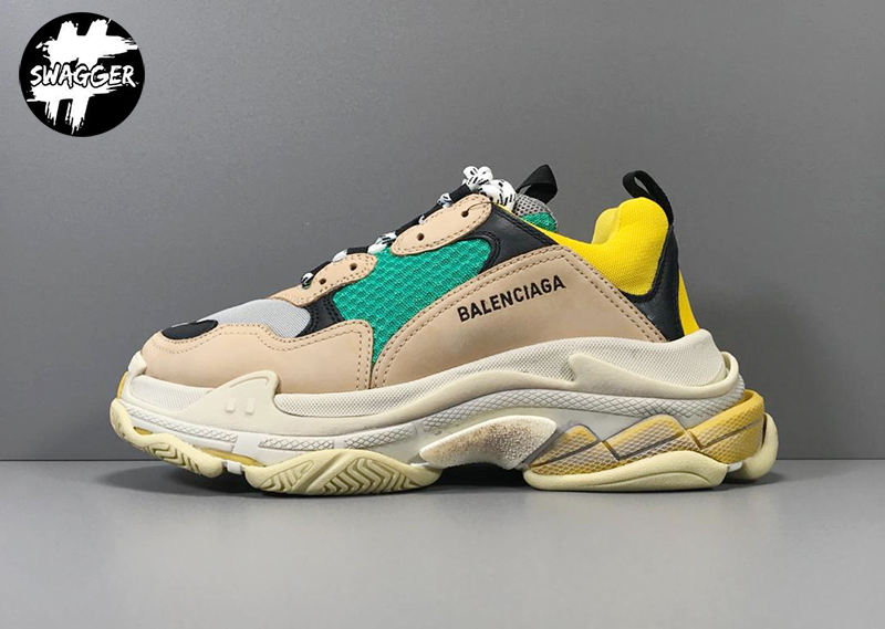 Giày Balenciaga Triple S Beige Green Yellow Plus Y Factory