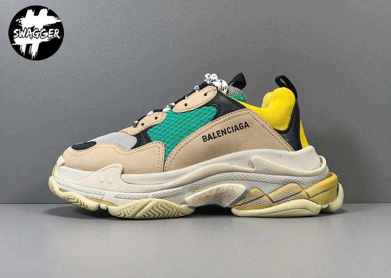 Giày Balenciaga Triple S Beige Green Yellow Plus Y Factory