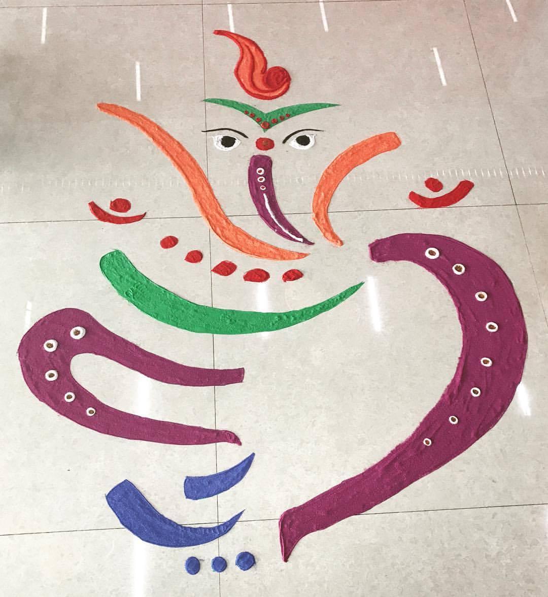 Fine Rangoli Design For Ganesh Chaturthi
