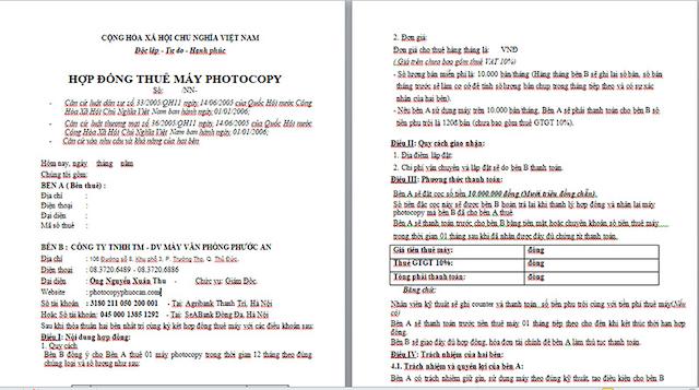 Cập nhật những thông tin hữu ích về hợp đồng cho Thuê máy photocopy quận 7