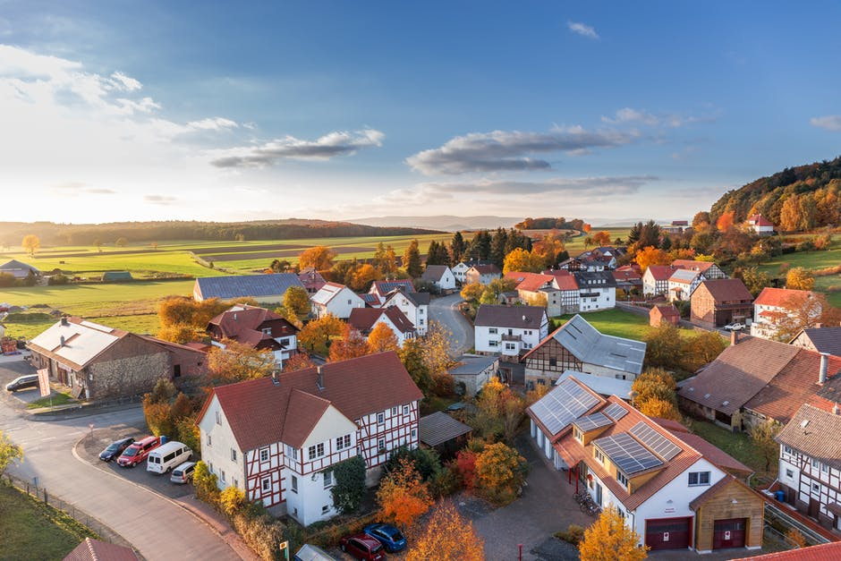 a bird's eye view of some houses